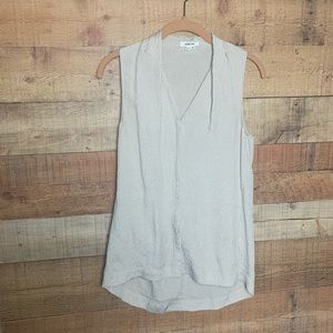 Helmut Lang 100% Silk Taupe Button Up Tank Blouse